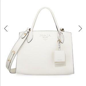 BRAND NEW! CLASSIC WHITE PRADA tote w/ long strap
